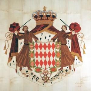 Armoiries Grimaldi réalisées pour le Prince Rainier en 1999, format 1x1m